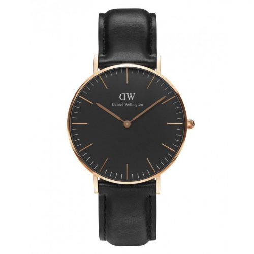 DANIEL WELLINGTON sort 36mm classic rødguld